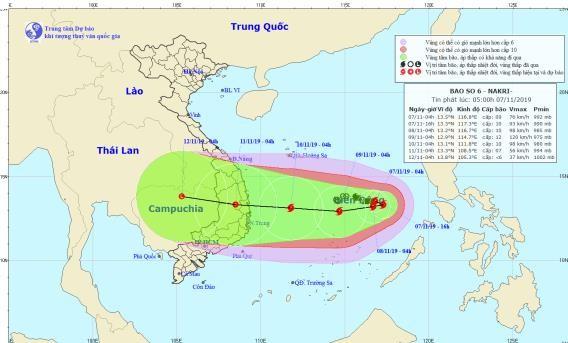 Dự báo đường đi và vùng ảnh hưởng của bão số 6, theo Trung tâm Dự báo Khí tượng Thủy văn Quốc gia.