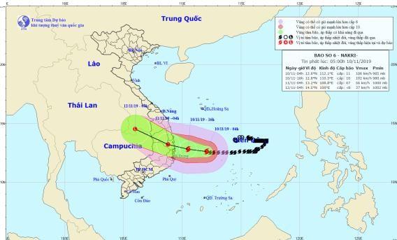 Dự báo đường đi vào vùng ảnh hưởng của bão số 6.