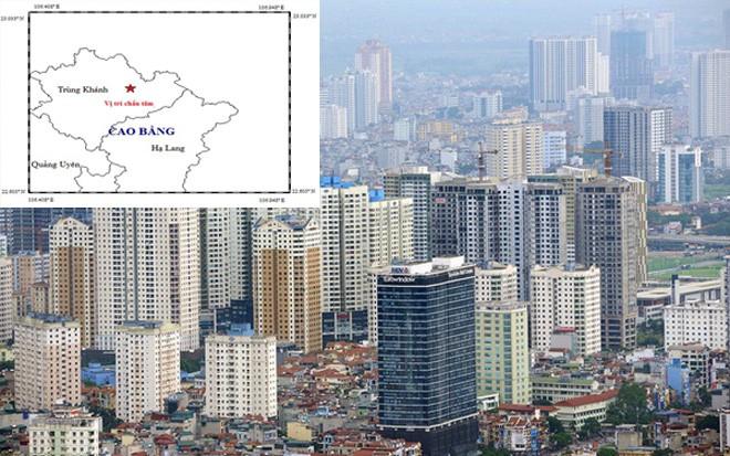 Bản đồ tâm chấn trận động đất sáng nay tại Cao Bằng (ảnh nhỏ).