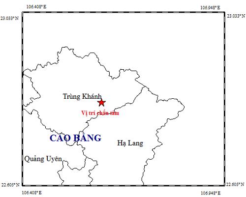 Tâm chấn trận động đất thứ 2 xảy ra tại huyện Trùng Khánh (Cao Bằng) trong sáng nay.