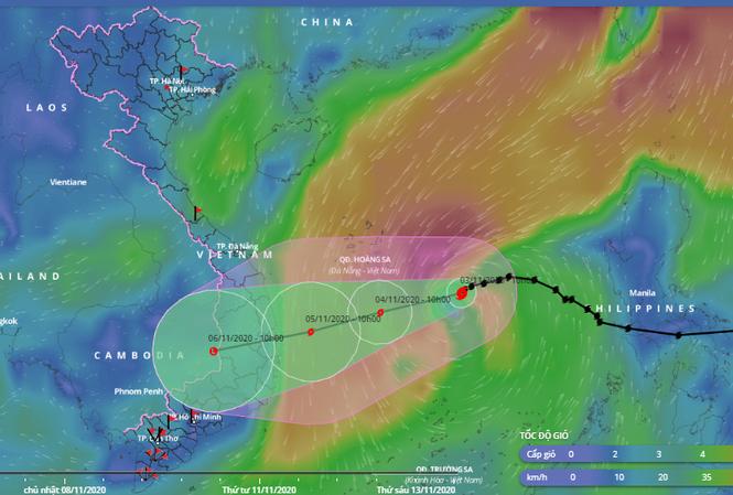 Dự báo đường đi và vùng ảnh hưởng của bão số 10.