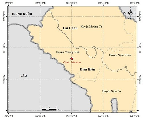 Lai Châu xảy ra động đất trong sáng sớm nay.