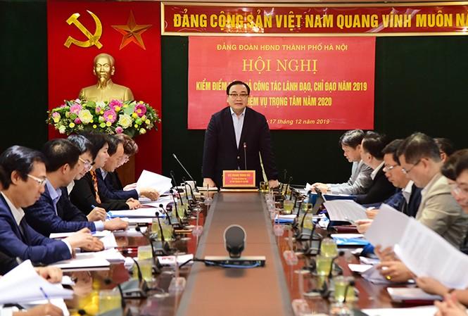 Bí thư Thành ủy Hà Nội Hoàng Trung Hải phát biểu tại Hội nghị. Ảnh: KTĐT