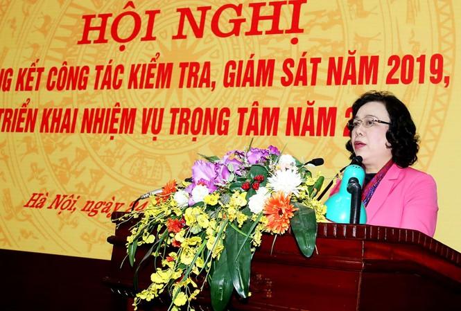 Phó Bí thư Thường trực Thành ủy Hà Nội Ngô Thị Thanh Hằng phát biểu tại hội nghị