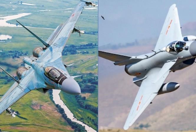 Tiêm kích J-10C của Trung Quốc (phải) và Su-35 Nga