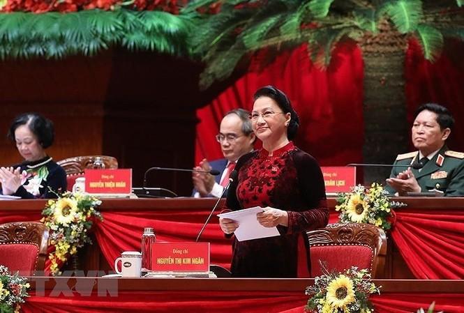 Chủ tịch Quốc hội Nguyễn Thị Kim Ngân cảm ơn các tổ chức và bạn bè quốc tế đã dành cho Đảng Cộng sản Việt Nam và nhân dân Việt Nam. (Ảnh: TTXVN)