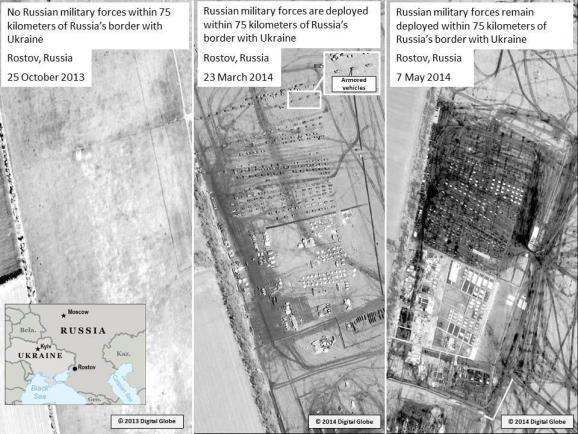 Mỹ công bố hình ảnh vệ tinh để cho rằng lực lượng quân sự Nga đóng dày đặc trên khu vực biên giới Nga-Ukraine