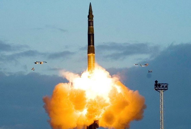 Một vụ thử tên lửa đạn đạo RS-12M Topol của Lực lượng tên lửa chiến lược Liên bang Nga. Ảnh: Bộ Quốc phòng Nga