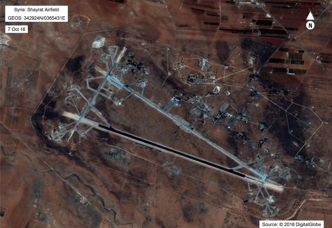 Căn cứ không quân Shayrat của Syria chụp từ vệ tinh. Ảnh: Reuters