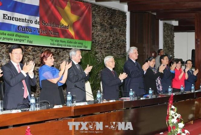 Tổng Bí thư Nguyễn Phú Trọng dự bế mạc cuộc gặp thế hệ trẻ Việt Nam – Cuba (Ảnh: Trí Dũng/TTXVN)