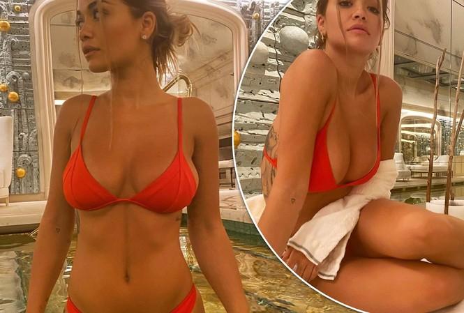 Rita Ora tung clip mặc bikini bé xíu ở bể bơi gây 'sốt'