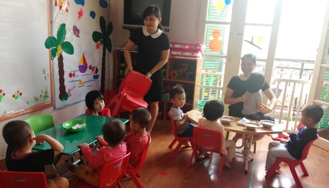 Bữa trưa của học sinh trường mầm non Bước Chân Vui Nhộn.