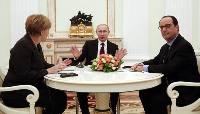 Tổng thống Nga, Thủ tướng Đức và Tổng thống Pháp gặp nhau ngày 6/2 tại Mátxcơva. Ảnh: Getty Images.