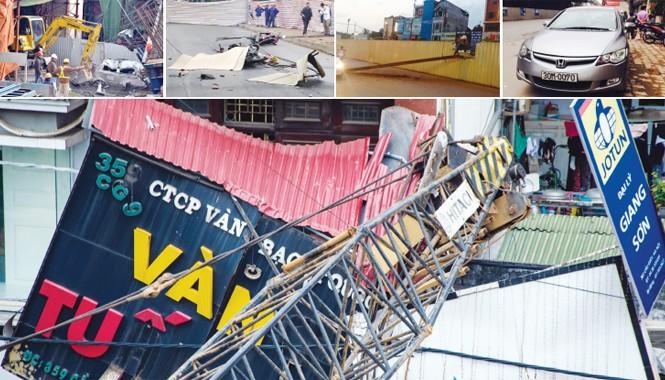 Chỉ trong vòng hơn 6 tháng qua, từ 6/11/2014 tới 12/5/2015, đã xảy ra 5 vụ tai nạn tại các công trình đường sắt đô thị ở Hà Nội. Ảnh: Thanh Hà-Thành Công.