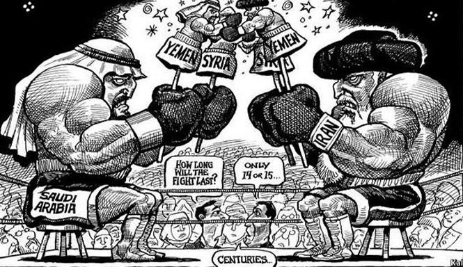 Iran và Ảrập Xêút là đối thủ tranh giành ảnh hưởng trong khu vực. Tranh: Chowrangi.