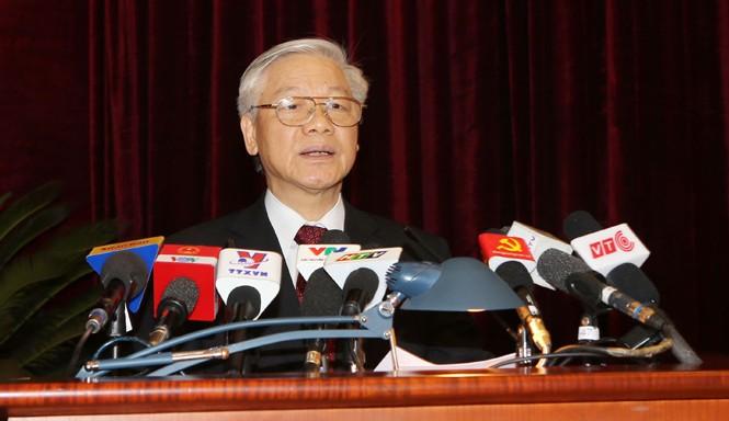 Tổng Bí thư Nguyễn Phú Trọng phát biểu tại hội nghị. Ảnh: TTXVN.