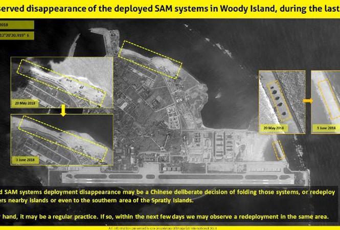 Hình ảnh vệ tinh cho thấy sự khác biệt khi ngày 23/5, Trung Quốc lắp đặt hệ thống tên lửa tại đảo Phú Lâm thuộc quần đảo Hoàng Sa của Việt Nam và ngày 3/6 thì không thấy có sự xuất hiện của hệ thống này.  Ảnh: CNN.