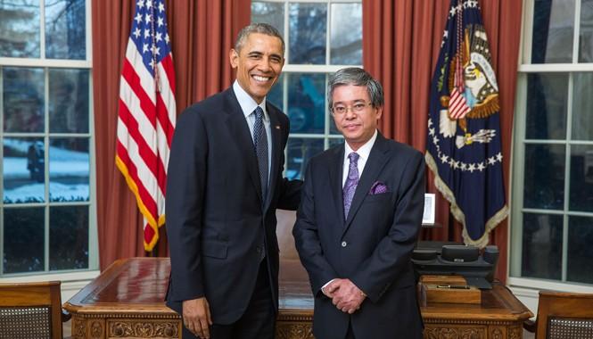Tổng thống Mỹ Barack Obama tiếp Đại sứ Phạm Quang Vinh tại Nhà Trắng hôm 23/2. Ảnh: Bộ Ngoại giao Việt Nam
