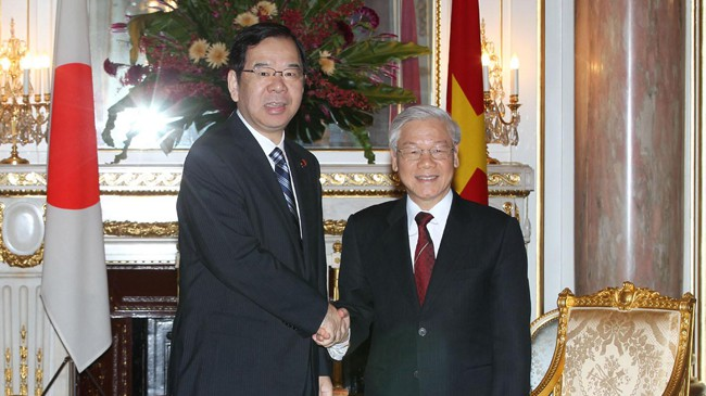 Tổng Bí thư Nguyễn Phú Trọng tiếp Chủ tịch Đảng Cộng sản Nhật Bản Kazuo Shii. Ảnh: TTXVN