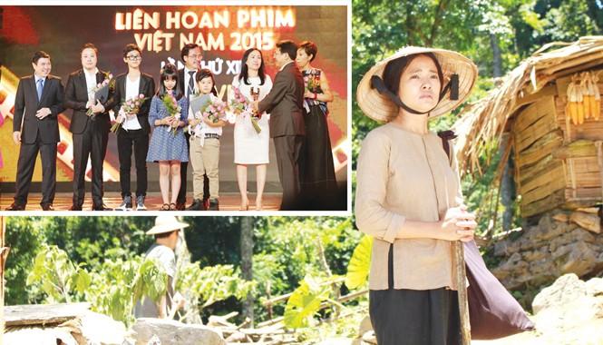 """Nữ diễn viên chính xuất sắc Đỗ Thúy Hằng - Phim """"Những đứa con của làng"""" và phim """"Cuộc đời của Yến"""" (ảnh lớn); Đoàn làm phim """"Tôi thấy hoa vàng trên cỏ xanh"""" nhận giải Bông sen vàng (ảnh nhỏ)."""