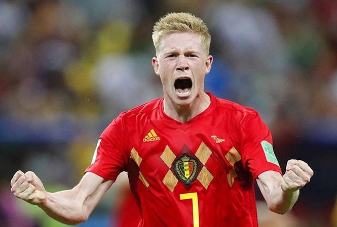Kevin De Bruyne ăn mừng bàn thắng nâng tỷ số lên 2-0 cho tuyển Bỉ.