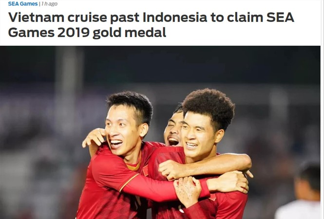 """Tờ Fox Sports phiên bản châu Á giật tít: """"Việt Nam nhẹ nhàng vượt qua Indonesia để giành huy chương vàng SEA Games 2019"""""""