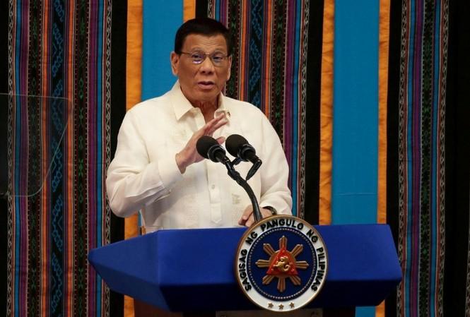 Tổng thống Philippines trong lúc đọc bài phát biểu giữa nhiệm kỳ về chính sách quốc gia ngày 22/7. Ảnh: Reuters