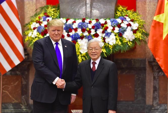 Tổng Bí thư, Chủ tịch nước Nguyễn Phú Trọng tiếp Tổng thống Mỹ Donald Trump hồi tháng 2/2019. Ảnh: VGP