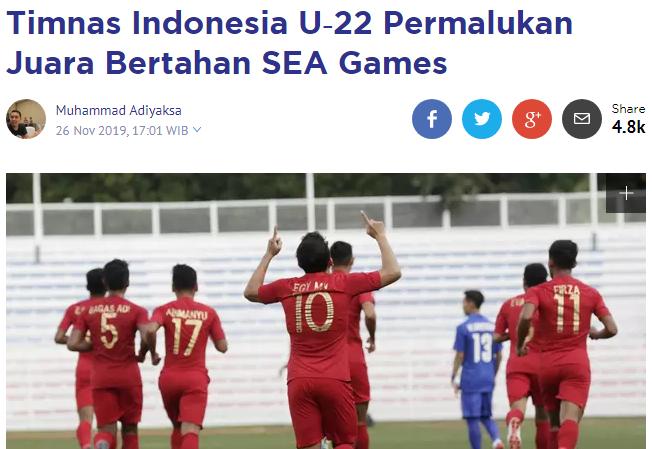 Báo Indonesia xát muối vào nỗi đau của U22 Thái Lan