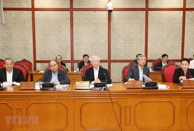 Tổng Bí thư, Chủ tịch nước Nguyễn Phú Trọng phát biểu chỉ đạo buổi làm việc với Ban Thường vụ Tỉnh ủy Thừa Thiên-Huế. (Ảnh: Trí Dũng/TTXVN)