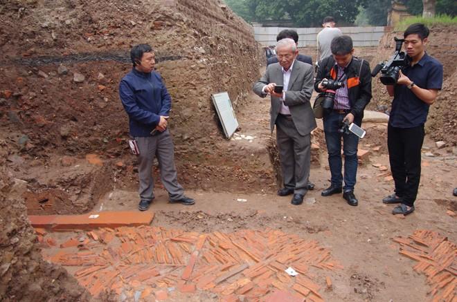 Dấu tích kiến trúc nhà Trần ở Hoàng thành Thăng Long Ảnh: Nguyên Khánh