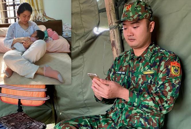 Đại úy Lê Ngọc Dũng trò chuyện với vợ con (ảnh nhỏ) qua điện thoại từ chốt chống dịch