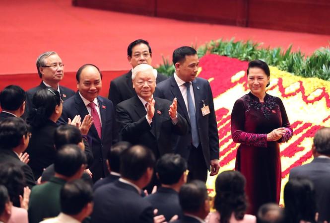 Tổng Bí thư, Chủ tịch nước Nguyễn Phú Trọng cùng các đồng chí lãnh đạo Đảng, Nhà nước, Quốc hội dự phiên họp trù bịẢnh: Như Ý
