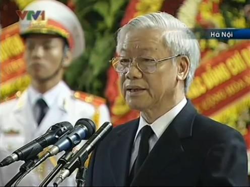 Tổng Bí thư Nguyễn Phú Trọng đọc điếu văn tiễn biệt Đại tướng