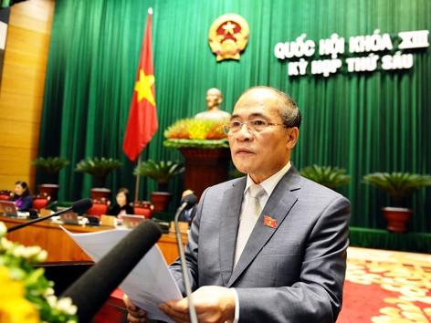 Chủ tịch Quốc hội Nguyễn Sinh Hùng phát biểu khai mạc kỳ họp thứ 6.  Ảnh: Ngọc Thanh