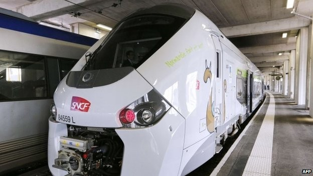 Ria thềm ga quá sát với đường ray khiến tàu hỏa không thể đi vào. Ảnh: AFP