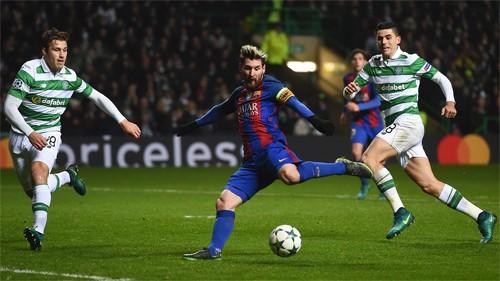 Messi đang dẫn đầu cuộc đua Vua phá lưới Champions League mùa này với chín bàn. Ảnh: Reuters