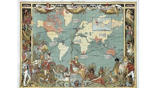 Đế chế Anh (màu đỏ) vào thời kỳ đỉnh cao. Ảnh: Ancient Origins.