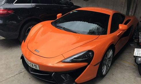 Siêu xe McLaren 570S, một trong nhiều tang vật bị thu giữ bởi công an. Ảnh: CA.