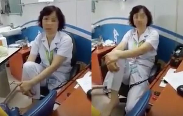 TS.BS Nguyễn Thị M. bị hạ bậc thi đua 1 tháng vì gác chân lên ghế