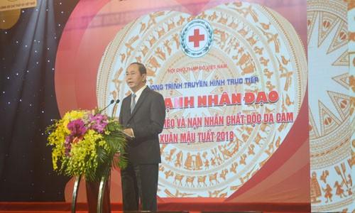 """Chủ tịch nước Trần Đại Quang phát biểu tại Chương trình """"Sức mạnh nhân đạo"""" xuân Mậu Tuất 2018. Ảnh: Kiến Nghĩa"""