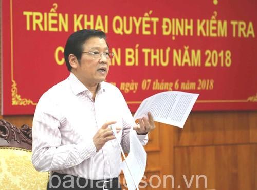 Hội nghị triển khai quyết định kiểm tra của Ban Bí thư năm 2018 tại Lạng Sơn.