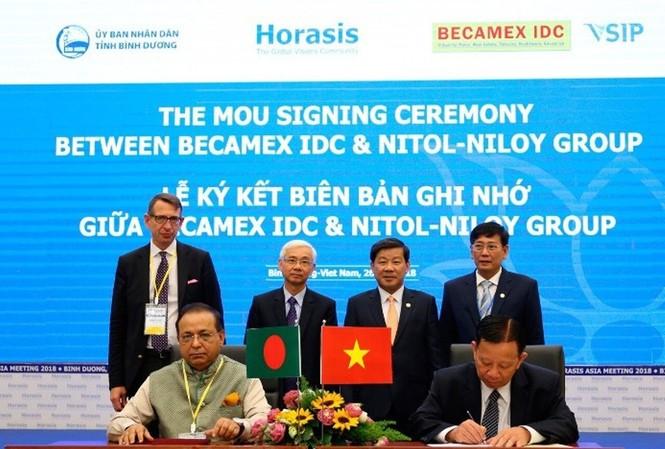 Becamex IDC ký kết hợp tác với các DN nước ngoài tại Horasis 2018