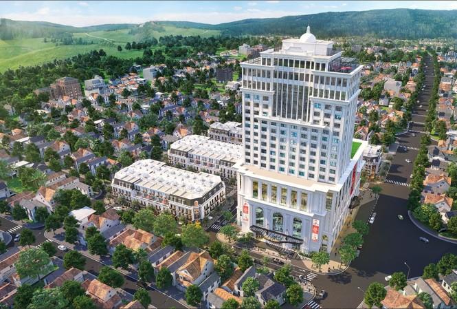 Vincom Shophouse Hà Giang nổi bật với khách sạn Vinpearl 20 tầng (Ảnh phối cảnh)