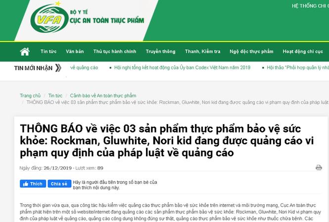 Khuyến cáo người tiêu dùng về 3 sản phẩm: Rockman, Gluwhite, Nori Kid