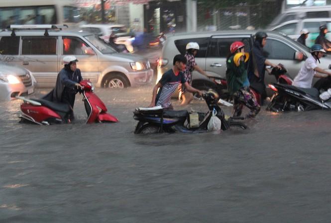 Đường Nguyễn Hữu Cảnh bị ngập nặng do lún và rác thải. Vừa qua, siêu máy bơm bị vô hiệu hóa bởi rác, xà bần gây nghẽn cống thoát nước