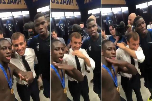 """Benjamin Mendy và Paul Pogba dạy Tổng thống Macron nhảy """"dab"""" ăn mừng chiến thắng."""