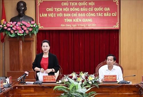 Chủ tịch Quốc hội Nguyễn Thị Kim Ngân phát biểu tại buổi làm việc với Ban Chỉ đạo công tác bầu cử tỉnh Kiên Giang - Ảnh: TTXVN