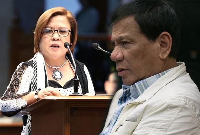 Ông Duterte và bà de Lima, người đang ngồi tù