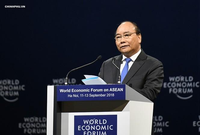 Thủ tướng Nguyễn Xuân Phúc phát biểu khai mạc WEF ASEAN 2018. Ảnh: VGP